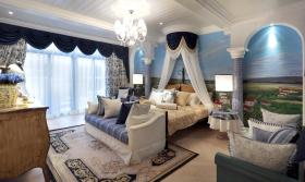 浪漫夏日蓝白地中海卧室窗帘布置