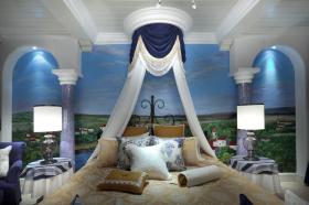 蓝色夏日地中海卧室背景墙布置