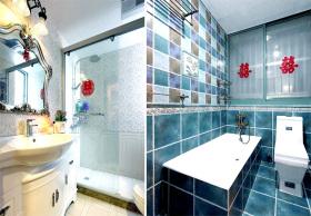 蓝白地中海卫生间浴室柜装修
