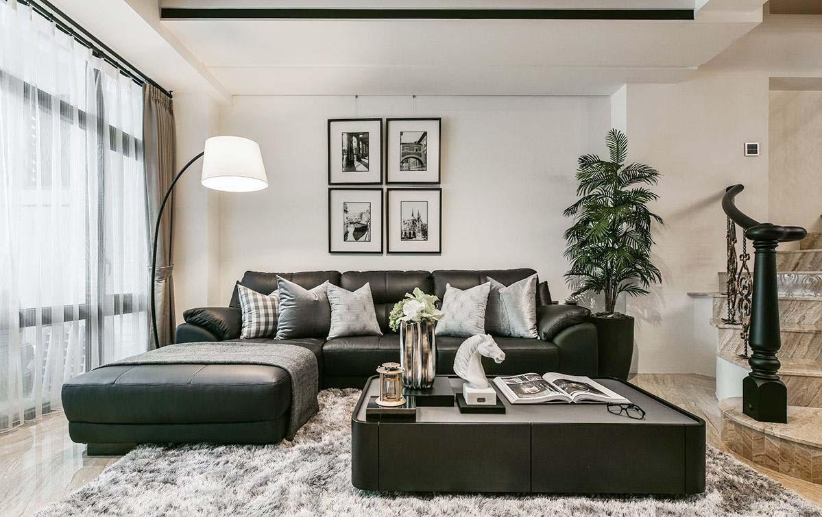 現代簡約風格冷色調客廳設計