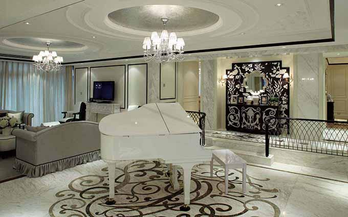歐式客廳鋼琴區裝修效果圖