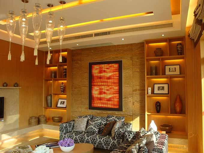 现代原木休闲客厅装修效果图