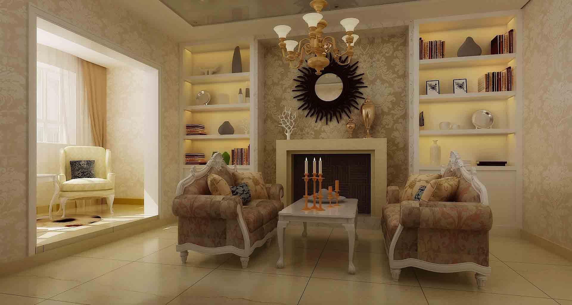 欧式田园客厅装修设计图图片