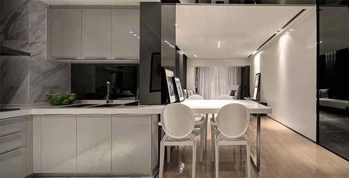 现代风格厨房餐厅一体化装潢设计-兔狗装修效果图