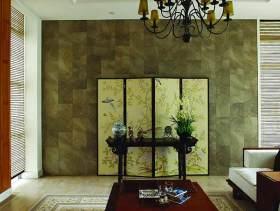素雅中式风格客厅背景墙装潢设计