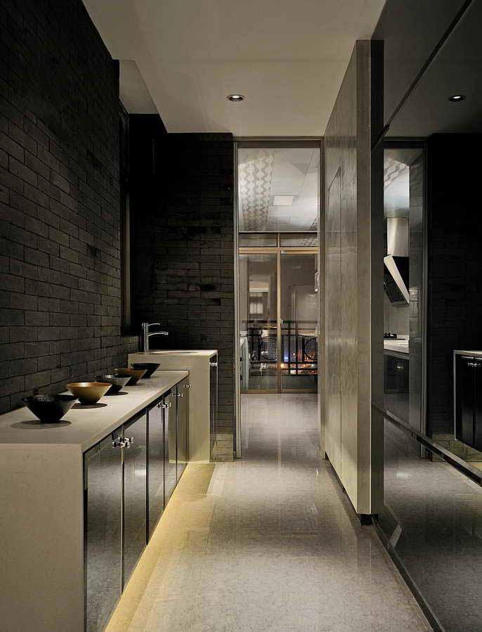 現代工業風廚房裝修效果圖