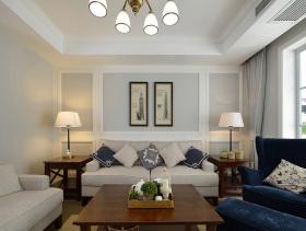 蔚蓝海风美式两居实用装潢设计案例