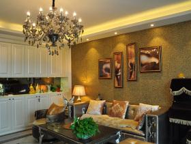 流金岁月时尚温馨客厅装修样板房