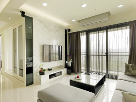 简约时代白色清爽三居装潢设计