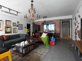 美式经典复古做旧客厅设计