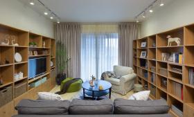简约原木风客厅书柜设计