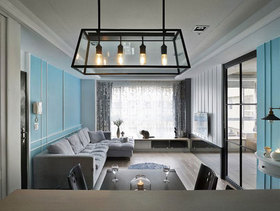 水蓝现代简约三居室效果图