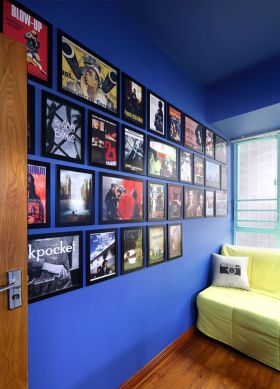 米色现代摩登创意照片墙效果图