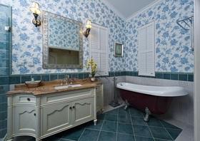 蓝色地中海风格卫生间浴室柜效果图