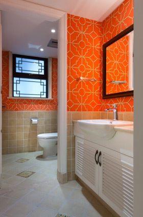 橙色大胆现代风卫生间装饰设计图片