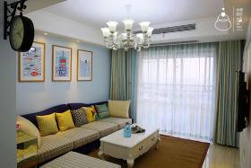 蓝色东南亚风格客厅沙发背景墙装修设计