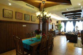 东南亚风格质感原木色餐厅效果图设计