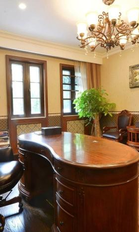 美式风格温馨橙色书房设计欣赏