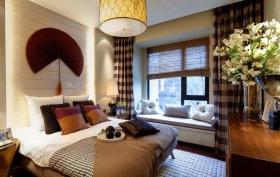 红色新中式卧室带飘窗装修效果图