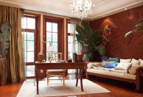 东南亚风格个性红色书房装修设计