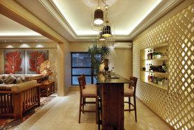 黄色新中式风格餐厅吧台装饰设计图片