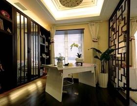 黑色中式风格书房装饰图