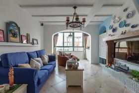 蓝色地中海风格客厅装修设计