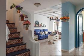 蓝色地中海风格楼梯装修案例