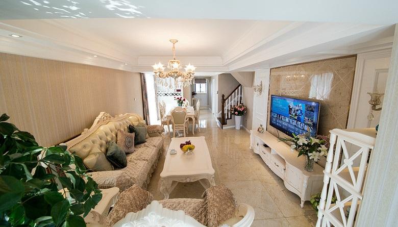 米色浪漫欧式风格客厅装修布置