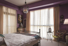 现代风格紫色质感卧室装修效果图片