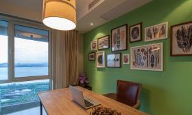 绿色清爽自然美式风格餐厅装饰案例