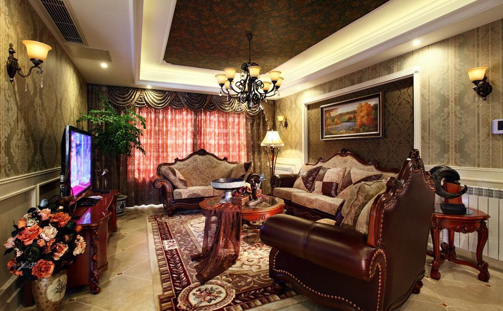欧式风格轻奢黄色客厅装修设计图片