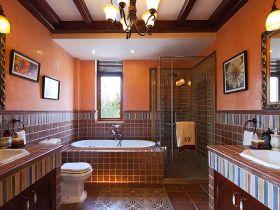 美式风格个性红色卫生间美图欣赏