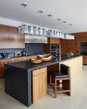 美式风格褐色质感吧台设计装潢