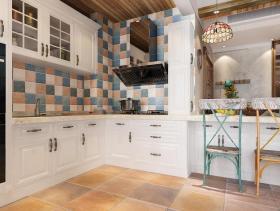 美式风格清新米色厨房装修布置