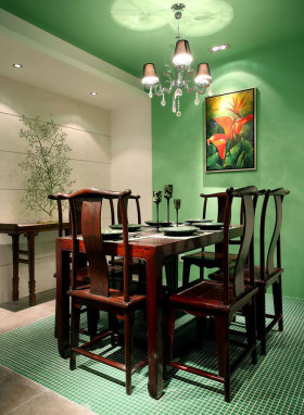 创意绿色中式餐厅图片赏析