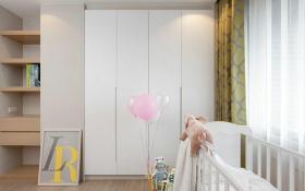 白色简约风格儿童房衣柜装饰设计图片