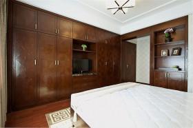 褐色中式简洁卧室装饰图
