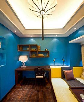 个性蓝色现代风格书房装潢案例