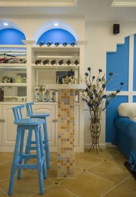 2016蓝色地中海风格吧台装修
