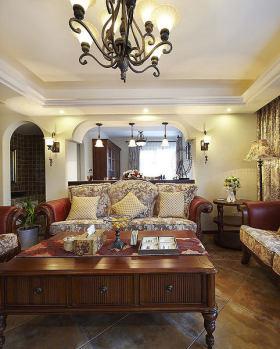 红色东南亚风格客厅沙发装修图