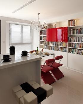 简约个性红色雅致书房装饰图