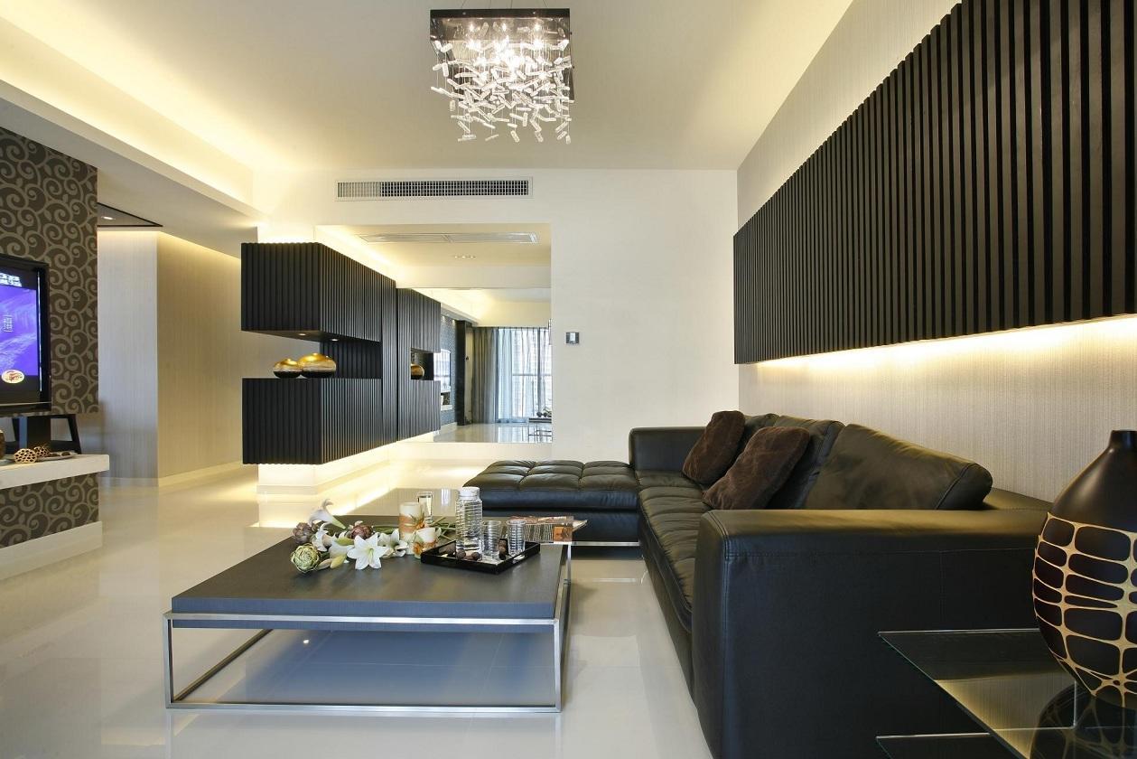 2016黑色极致简约风格客厅装修案例
