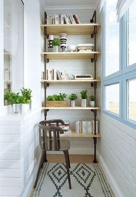 白色简约风格阳台书柜设计欣赏