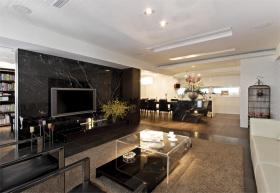 沉稳黑色现代风格客厅背景墙装饰图