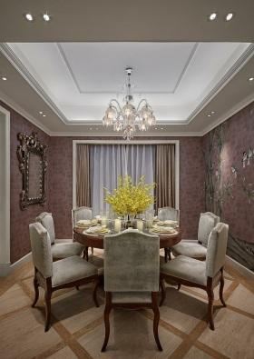 现代风格素雅紫色餐厅装修布置