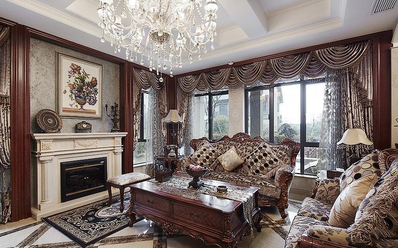 褐色华贵欧式客厅装饰设计图片