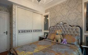 银灰色欧式风格卧室衣柜设计装潢