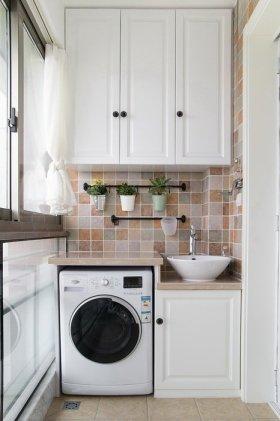 白色宜家风格阳台洗衣机柜美图赏析