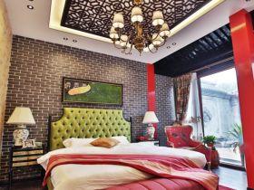 红色中式风格卧室图片欣赏